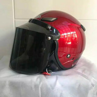 Helm JPN kawai momo maroon gloss kaca datar monsa