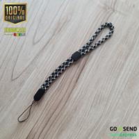 Braided Nylon Lanyard Wrist Strap Tali Gantungan Handphone Flashdisk - Black White