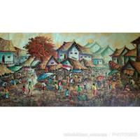 Lukisan Pasar Tradisional 1 x 2 m - Merah