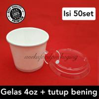 Paper cup/gelas ice cream 4oz+lid bening
