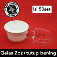 Paper cup/gelas ice cream 2oz+lid bening