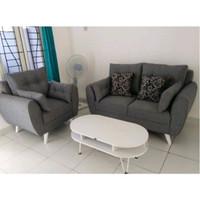 Sofa Ruang Tamu Retro Leaf 21 Seater + Meja Coffee Table - Hitam