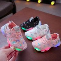 Sepatu Anak Perempuan Sneaker BFLY Lampu LED Size 26-30 Usia 2-4 Tahun - 26, Hitam