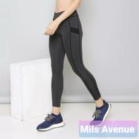 Celana Olah Raga Gym Wanita Fitness Running Senam Sport Legging Grey