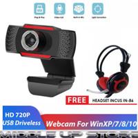 Webcam incus x22 atau x11 720p camera live free headset incus
