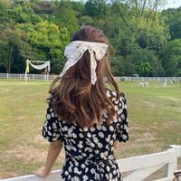 kuncir rambut ikat rambut pita lace bow yarn hair rope jku038