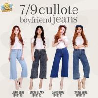 Celana 7/9 Kulot Cullote Boyfriend Jeans Wanita Non-Stretch - Light Blue, 27