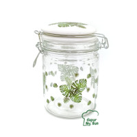 Toples Kaca Seal Kawat Motif Monstera 700ml / Jar Kedap Udara