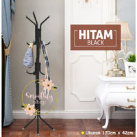 Multifunction Stand Hanger / Standing Hanger Topi / Gantungan Berdiri - Hitam