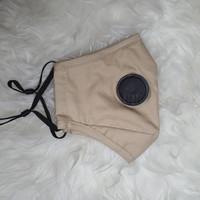 masker kain premium 3 ply (adjustable earloop + kantong filter) - Light Brown