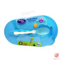 Baby Safe AP010 Divided Bowl with Spoon Mangkok Tempat Makan Bayi - Biru