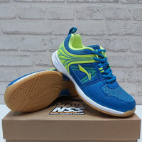 Sepatu Badminton Lining Attack G6 Original Blue Lime aytq 082-5 anak