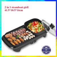 Panci Listrik fleco 607 BBQ & Hot Pot STEAMBOAT SHABU 2 IN 1 ELECTRIC