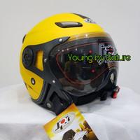 Helm Half Face JPN HalfFace Kawai Momo Yellow Doff Kaca Pilot
