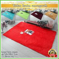 karpet bulu rasfur uk 150x100x2cm - Merah