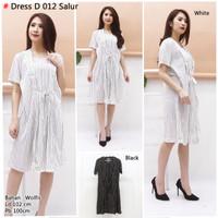 Dress salur midi Hitam putih|Bunkashop