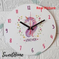 Jam dinding kayu anak dekorasi kamar unik motif unicorn hadiah ultah