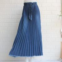 rok plisket jeans wanita skirt rok panjang jeans bawahan muslim