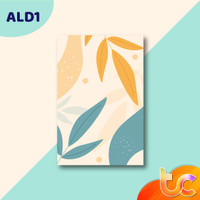 HIASAN DINDING DEKORASI POSTER KAYU MINIMALIS - abstract Leaf drawn