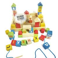 Mainan Edukasi Susun Balok dan Meronce Huruf Kecil Huruf Besar
