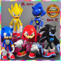 Action Figure Sonic Set Isi 5 Large Size Mainan Topper Cake