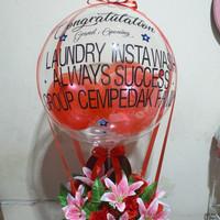 Buket bunga palsu, bunga balon - Merah