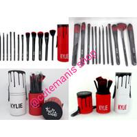 Kuas Make Up Brush Set 12 In 1 Bulu Gradasi Merah Kylie Tabung