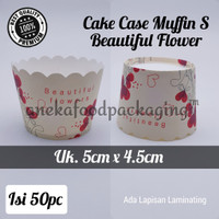 Alas kertas muffin/paper cake case bulat kecil (S) beautiful flower