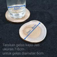Liveedge ● 7 - 8cm tatakan gelas potongan log kayu Jati natural
