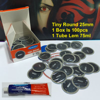 Tambal Ban Sepeda Motor Bestpatch Tiny Round 25mm -100pcs -Lem 75ml