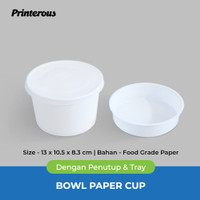 Paper Bowl / Mangkok Kertas 27 oz (800 ml) + Lid/Tutup + Inner/Tray