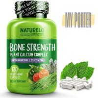 NATURELO Bone Strength - with Calcium, Magnesium, Vitamins C, D3, & K2