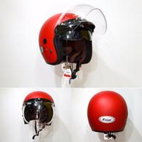 Helm bogo retro fino barcode double visor merah ferrari dop original