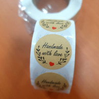 Sticker Ucapan / Handmade with love / Thank you Coklat -Diameter 2.5cm