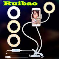 Ring Light Selfie Portable Midio Dengan Holder U dan Leher Flexible