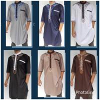 baju koko pria kurta pakistan 3/4 bordir gamis busana muslim murah - Putih