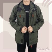 JAKET DISTRO PARASUT ZIPPER BGSR ARMY