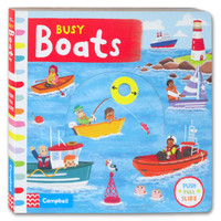 Busy BOATS - Push Pull Slide Board Book