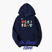 sweater Hoodie dewasa BTS - S, Abu-abu