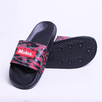 "SANDAL MULES - ""ARMY RED MULES"" - BLACK SANDALS"