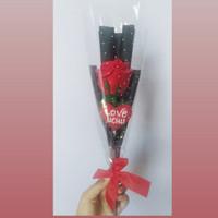 Buket Bunga Flanel Mawar Setangkai With Love