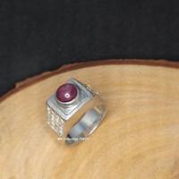 Cincin Emban Perak 925 Batu Ruby Star dengan Tabur American Diamond