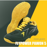 Sepatu Badminton Junior / Anak FLYPOWER PAWON 5 MOSS GREEN ORIGINAL