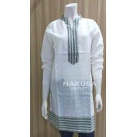 Fashion Tunik Wanita Motif Aconit Hijau - TRISET 06A - White, S