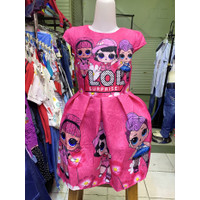 Dress LOL Surprise Anak Perempuan Cewek Girl Impor Pink