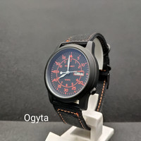 Jam Tangan Pria Swiss Navy Analog Canvas Hitam Orange SN-8805 Original
