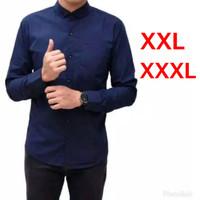 Baju Kemeja Pria Polos Lengan Panjang Big Size Jumbo XXL/XXXL - XXL, Biru