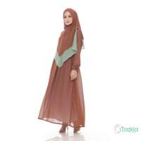 Setelan Syari Wanita | Naura Cokelat| S M L XL | Gamis Khimar Ceruty