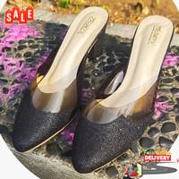 Sepatu wanita Heels Linzie Mules By TrompaFashionable - Hitam, 36