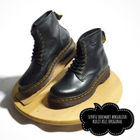 Sepatu Boot Pria Boots Casual Kulit Asli Docmart Hitam 1080